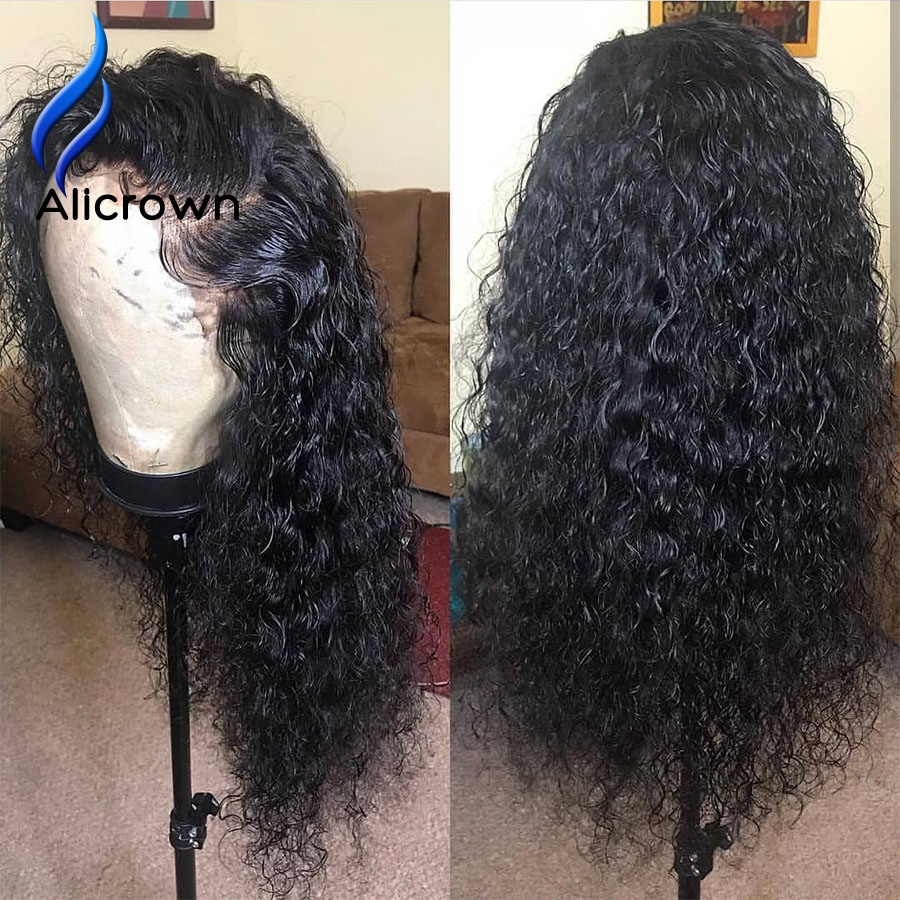 Image 5 - ALICROWN Curly Human Hair Wigs With Baby Hair Bleached Knots Brazilian 13*4 Lace Front Wigs Pre Plucked 130% Density Non  Remy-in Human Hair Lace Wigs from Hair Extensions & Wigs