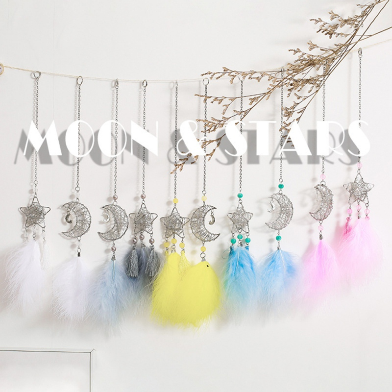 Feather Handmade Gift Car Hanging Decoration Home Wall Hanging Decoration Hollow Star Moon Colorful Feather Hanging Decoration 1 - 6