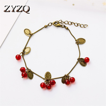 ZYZQ Ripe Fruit Shaped Beads Bracelets With Cute Leaves Design Vintage Red Jumble Beads Pendant Women Wrist Bracelets Wholesale image