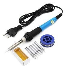 Eu Plug 110V 220V 60W Soldering Iron Thermostatic Electric Mini Solder Iron Station With 6Pcs Soldering Tip Solder Wire Rosin цены