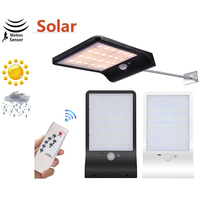 remote 48/36 LED Solar lamp Motion Sensor garden Solar light street Wall Yard Deck Security Night Light Wall w pole remote timer
