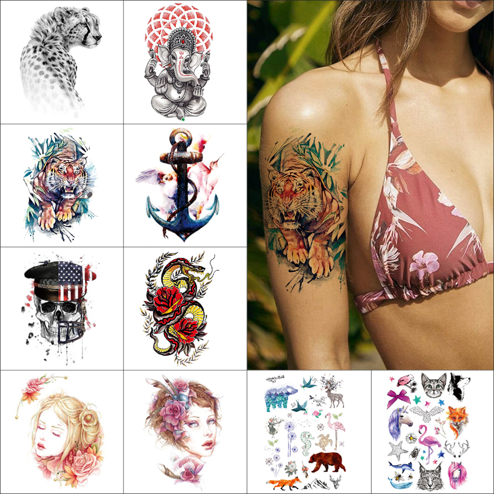 Temporary Tiger Tattoo Stickers USA National Flag Skeleton Waterproof Tattoo Elephant Tiger Bear Leopard Body Art Tattoo For Arm