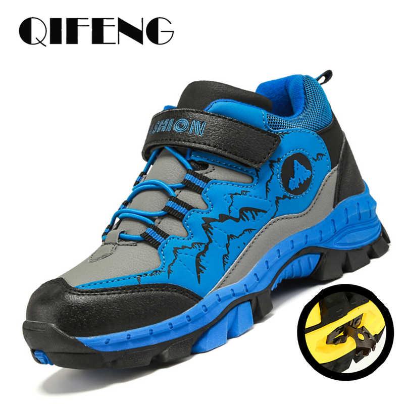 Kış yürüyüş ayakkabıları çocuk çocuk kar botları gençler çocuk ayakkabı yürüyüş tırmanma Sneakers deri su geçirmez kaymaz spor Stu