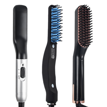 Comb Beard Straightener Hair Brush Straightener Beard Comb Quick Hair Styler Men US PLUG Dropshipping store 1