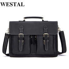 Briefcases-Bag Leather Laptop WESTAL Office/document-Bags Lawyer Business Crazy-Horse