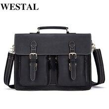WESTAL Business Briefcases Bag Men for Lawyer Vintage Crazy Horse Leath