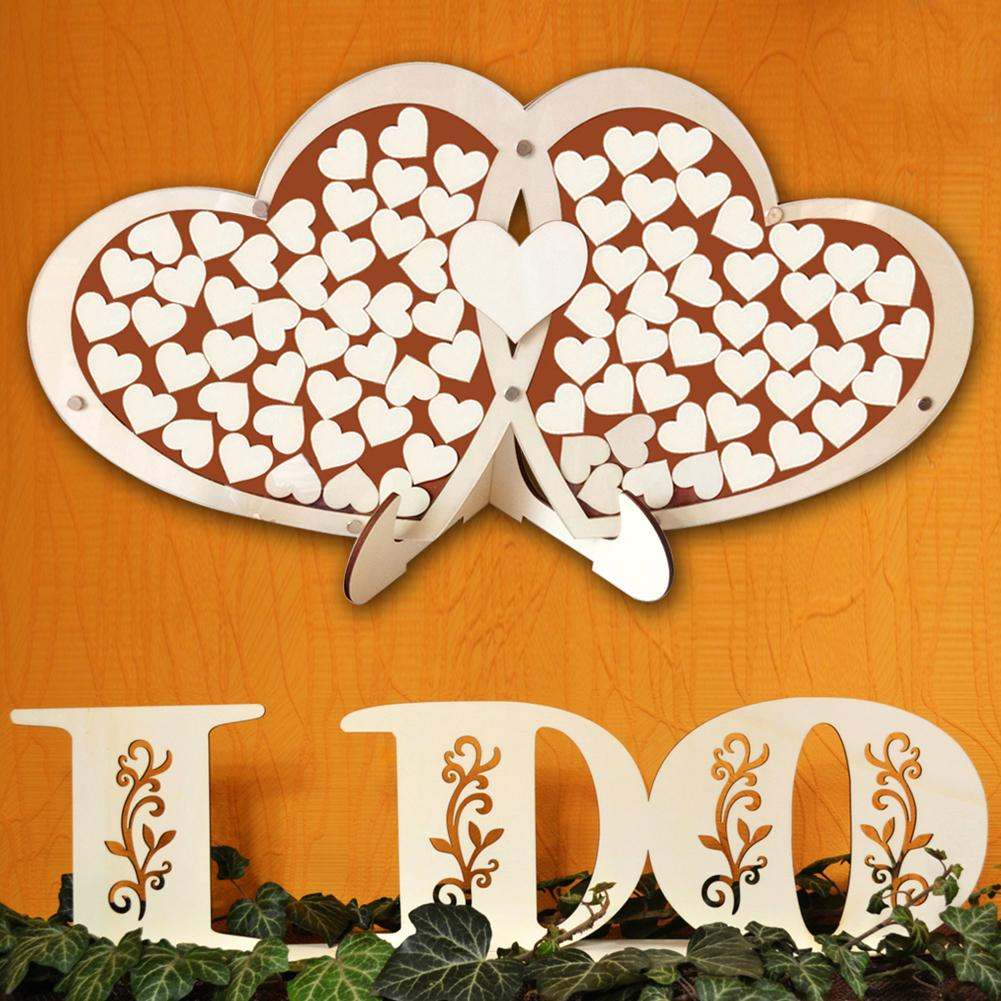 Wooden Double Heart Shape Signature <font><b>Guest</b></font> <font><b>Book</b></font> Manufacturing Technology of Plywood Personalized <font><b>Puzzle</b></font> Wedding Decor image