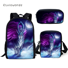 ELVISWORDS Kids Backpacks 3PCs Set Fantasy Moon Wolf Pattern School Bags Kawaii Animal Print Students Backpack/Flaps Bag/Pen Bag