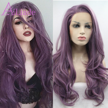 Ailiade Purple Heat Resistant Synthetic Lace Front Wigs for Women Mix Purple Long Wavy Free Part Soft Wig цена 2017