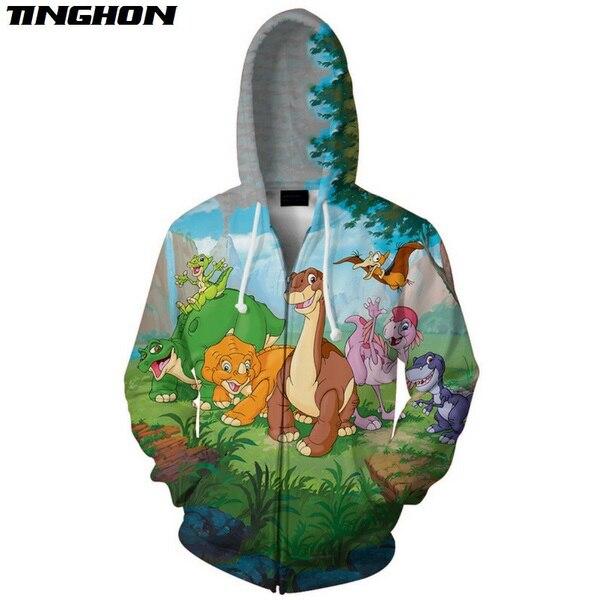 XS-7XL   Summer Fashion Mens Womens Hoodies Sweatshirts The Land Before Time Cartoon 3d Print Casual Hooded Jacket