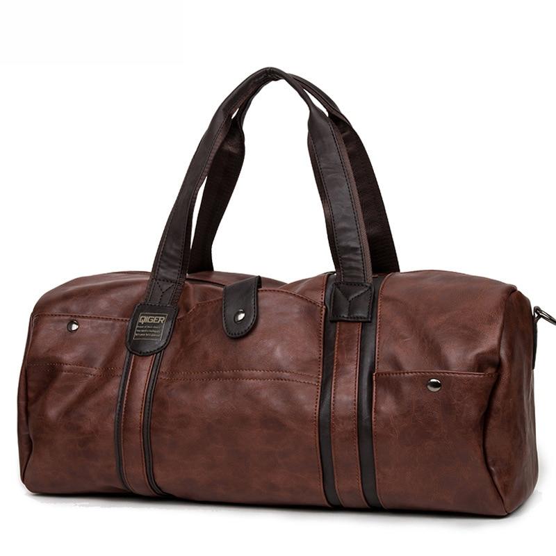 SIXRAYS Weekender масло воск кожаные сумки для мужчин путешествия вещевой мешок портативный сумки на плечо мужская мода сумка для переноски - Color: Brown
