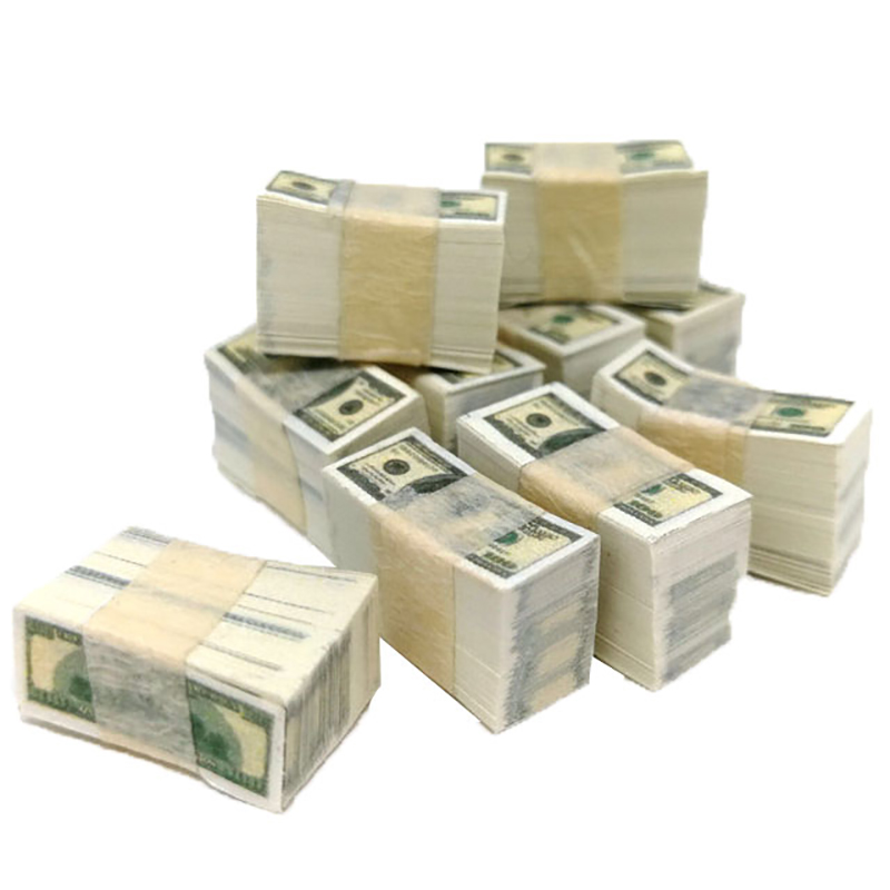1/12 Scale Miniature Play Money - US $100 Banknotes (one Bundle)