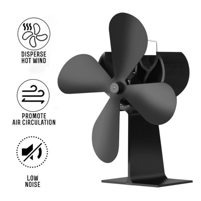 4 Blades Heat Powered Stove Fan Log Wood Burner Ecofan Quiet Black Fireplace Fan Efficient Heat Distribution Home
