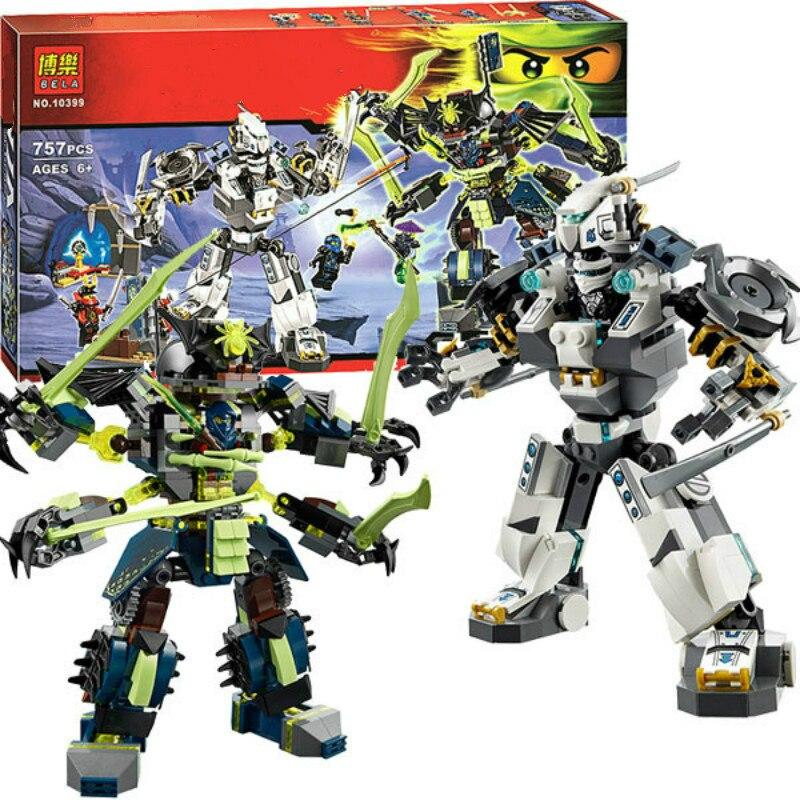 754 Pcs Bela Nuevos 10399 Fantasma Ninja Titan Mech Kit Modelo De Construccion Batalla Bloques Ninja Compatível com