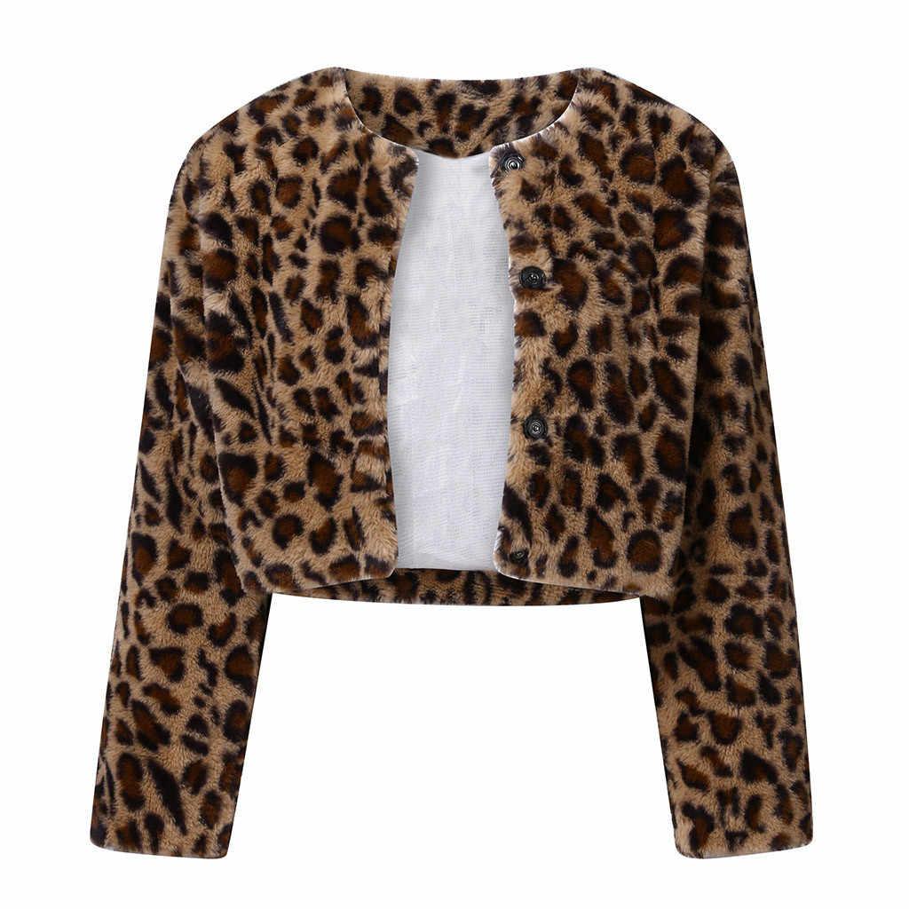 Zimowy ciepły, puszysty Faux futra Leopard płaszcze kurtki damskie futrzany sztuczne futro krótka kurtka przycisk płaszcz miś kurtka polarowa