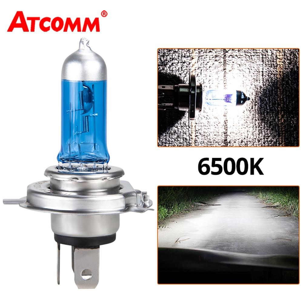 ATcomm 1PCS Super White Halogen Bulb H4 H7 12V 55W/60W 100W 6000K 6500K Quartz Glass Car Headlight Lamp Motorcycle Light Lamp