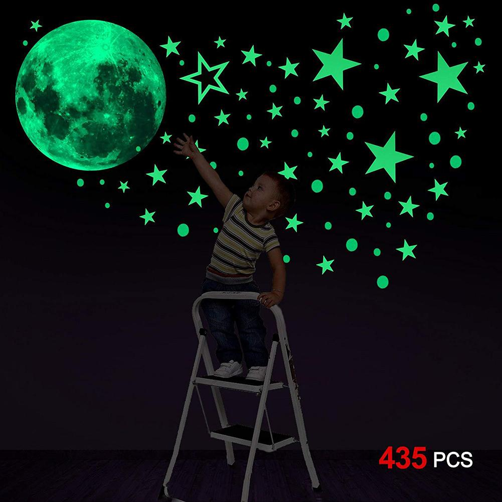 new 435Pcs Luminous Dot Star Monn Wall Sticker Glowing Bedroom Background Decals Pattern Removable DIY