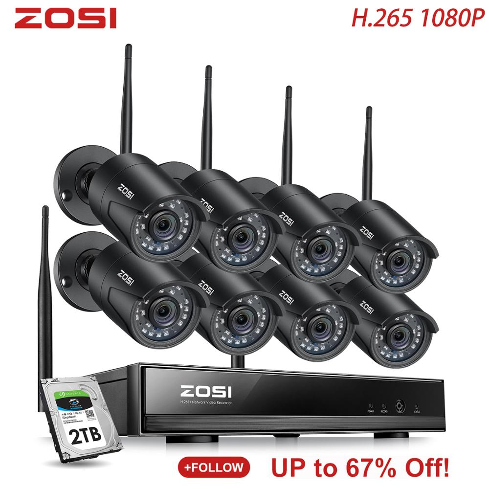ZOSI 8CH H.265 1080P HD Wireless WiFi NVR Kit Indoor Outdoor Waterproof IP66 Night Vision Security IP Camera WiFi CCTV System