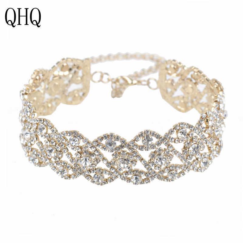 QHQ תליון שרשרת גיאומטרית שרשרת chocker הטוב ביותר חברים חסר צוואר קריסטל טבעי אבן פרל אביזרי תכשיטי boho