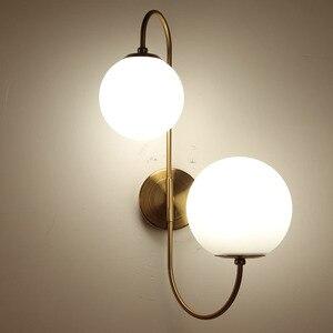 Image 3 - Modern nordic Glass Meta black/gold ball Retro Vintage Wall lamp E27 Loft for cafe bedroom foyer