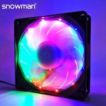 Muñeco de nieve de 90mm 4 Pin ventilador PWM 92mm ordenador ventilador con cubierta silencio 9CM ventilador de refrigeración de la CPU tranquilo ventilador de refrigeración de PC RGB DC ventilador 12V ajustar la velocidad del ventilador