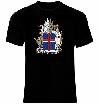 Coat of Arms The Iceland Icelandic Flag T-Shirt Cotton O-Neck Short Sleeve T Shirt New Size S-3XL