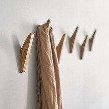 Natural Wood Clothes Hanger Wall Mounted Coat Hook Decorative Key Holder Hat Scarf Handbag Storage Hanger Bathroom Rack