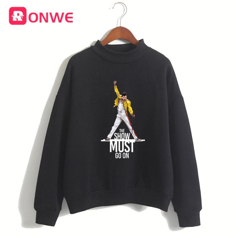 Women Freddie Mercury The Queen Band Black Hoodie Sweatshirt Female Winter Fleece Harajuku Sweatshirt Girl Christmas Gift