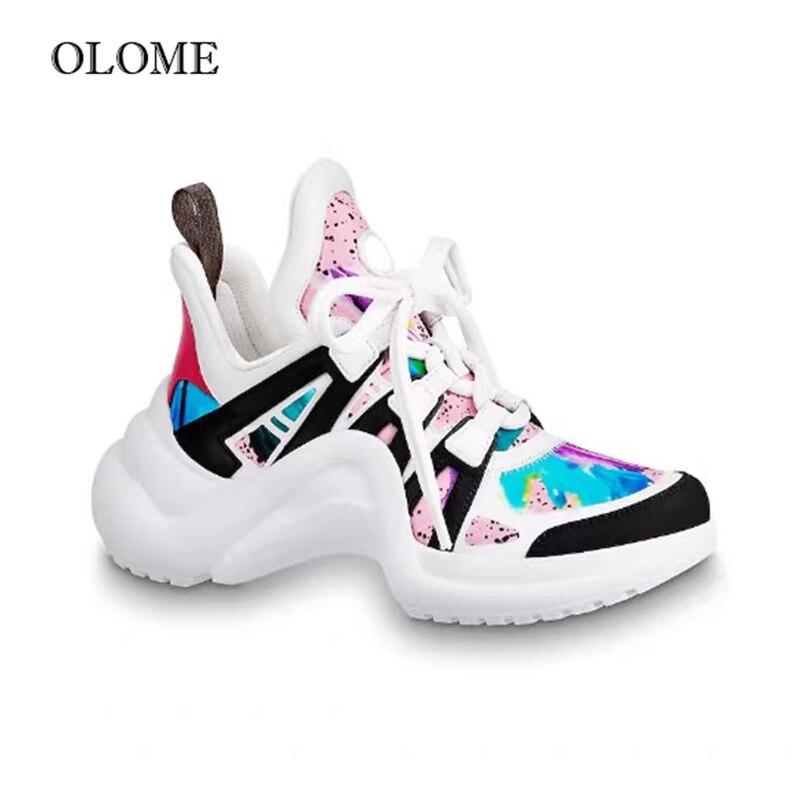 2019 chaussures très populaires femmes baskets Chunky marque de luxe néon jaune chaussures décontractées femmes en cuir plate-forme baskets dames