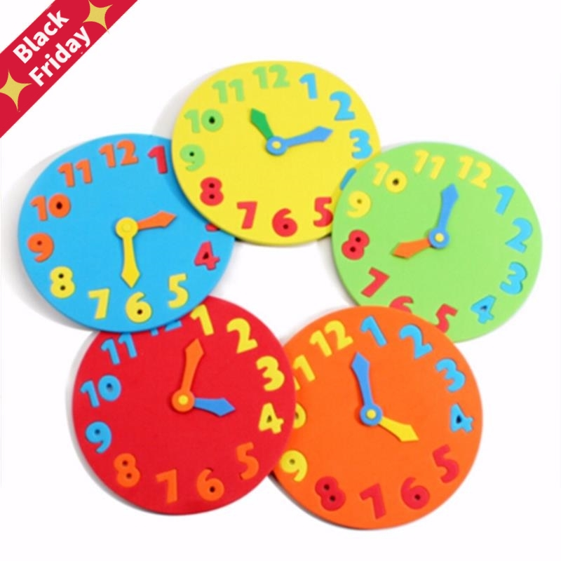 Foam Number Clock Puzzle Clock Learning Toys Early Education Fun Jigsaw Puzzle Game For Children 1-6 Years Old 13*13cm