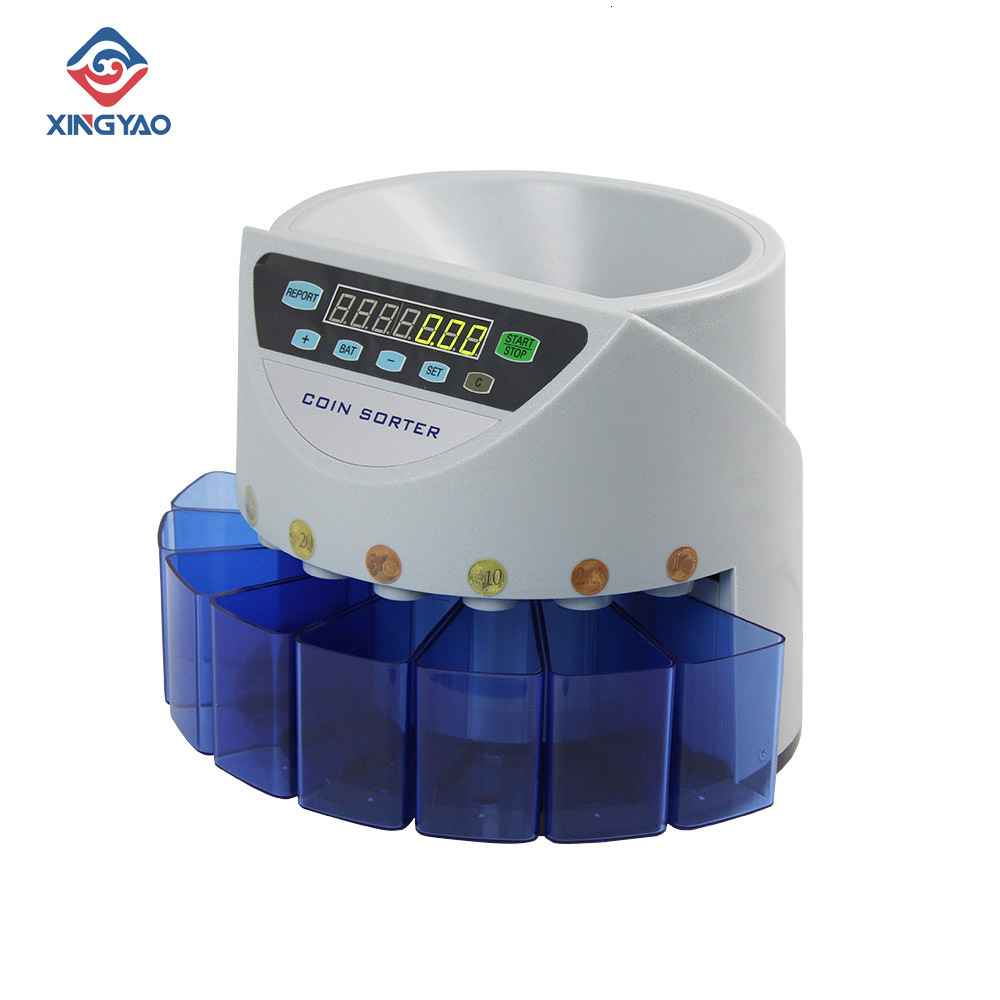 Blue Mixed Coin Value Sorter Euro Coin Counter For European Market Coins Counting Machine With 8 Money Tube