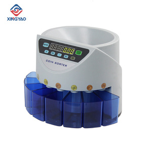 Blue Mixed Coin Value Sorter Euro Coin Counter For European Market Coins Counting machine with 8 money tube(China)
