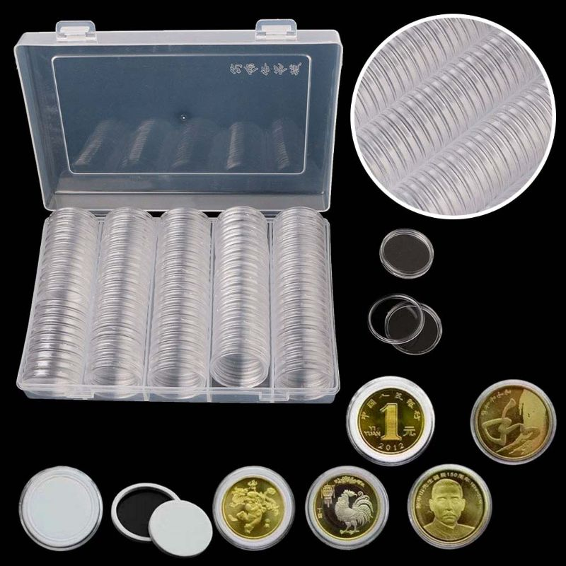 100PCS 30mm Clear Round Coin Capsules Coin Case Holders Containers Storage Boxes