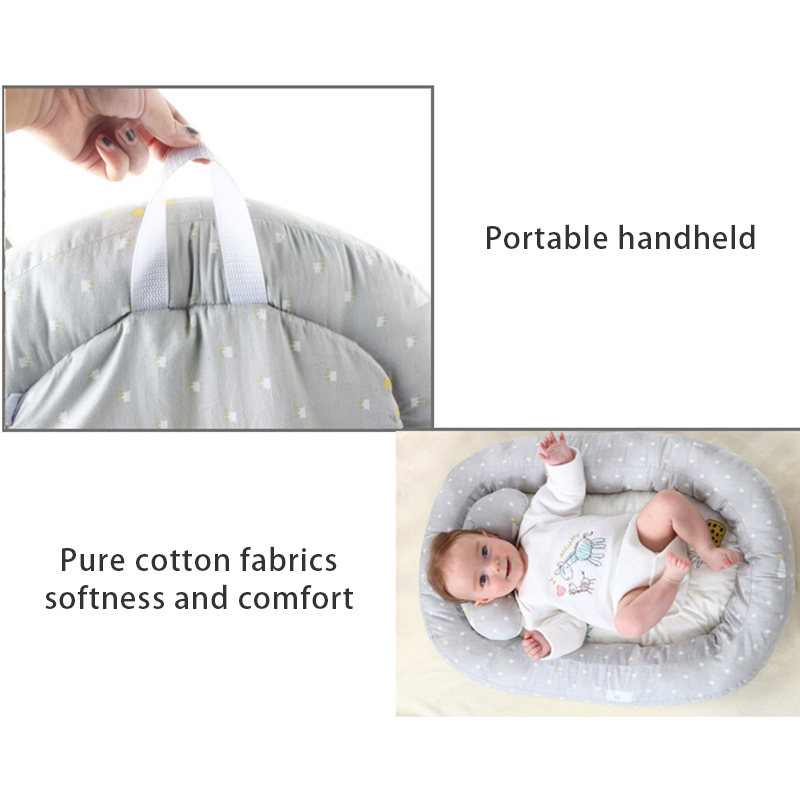 Baby Bed With Pillows 74*51cm Dot Travel Bassinet For 0-4M Portable Newborn Toddler Breathable Bed Lounger Sleep Nest