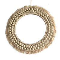 Round Lace Woven Mirror Hanging Wall Mirror Art Deco Round Mirror Living Room Wall Hanging Mirror Hand-made Home Decoration