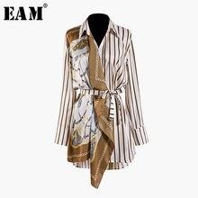 [EAM] 2021 nuova primavera autunno bavero manica lunga motivo a strisce diviso comune irregolare camicia di grandi dimensioni camicetta da donna moda JQ490