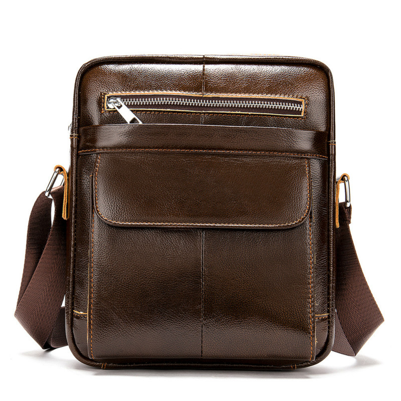 1PCS Summer New Men's Leather Bag Recreational Slant Bag Vertical Multifunctional Single Shoulder Bag