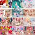 Розовый Красочный Воздушный Шар тематический фон для детей, многоярусная юбка 1st на день рождения фон для портретной съемки яркого цвета дл...