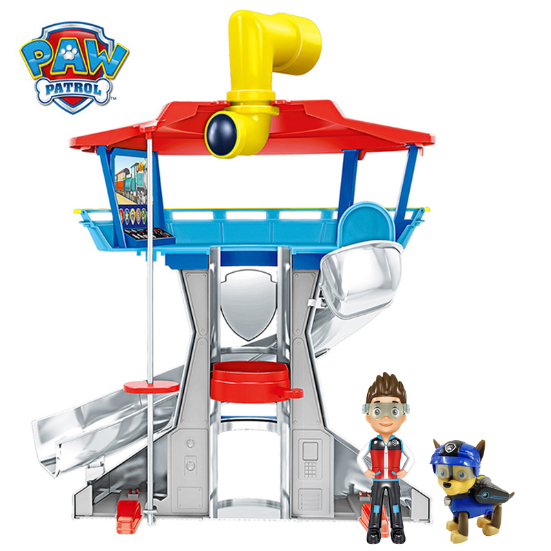 Paw Patrol Tower With Music Puppy Patrol Lookout Tower Patrulla Canina Action Figure Anime Toys For Children Christmas Gift 2D64