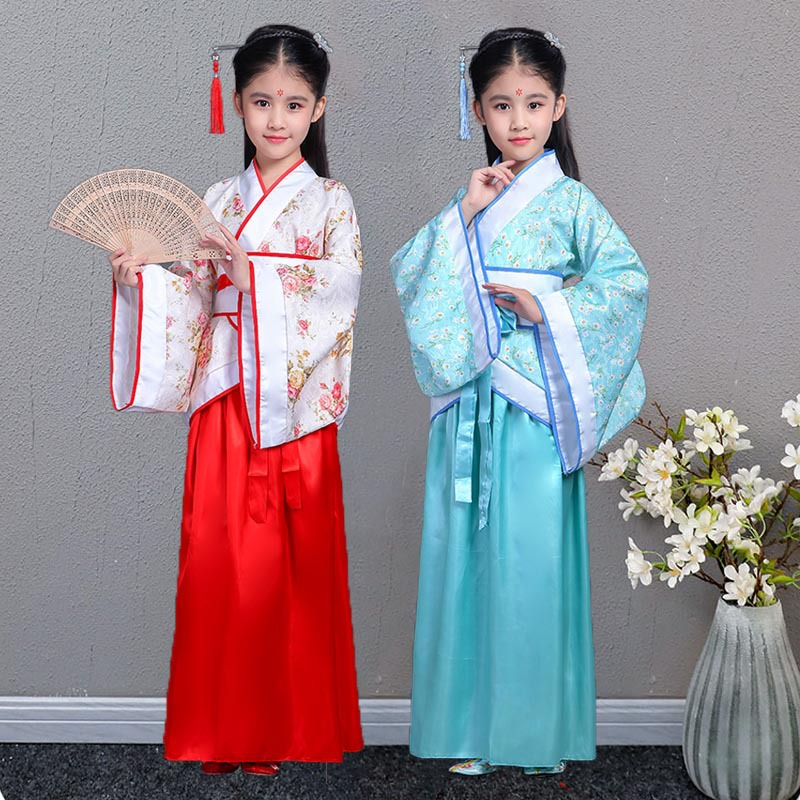 Children Chinese Clothing Girls Jacket Skirt Ancient Costume Chinese-style Big Sleeves Big Boy Costume Summer Ancient Costume Im