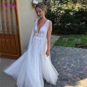 Богемное кружевное свадебное платье, сексуальное платье с глубоким v-образным вырезом и открытой спиной, свадебное платье, пляжный сад, Vestidoe De Noiva