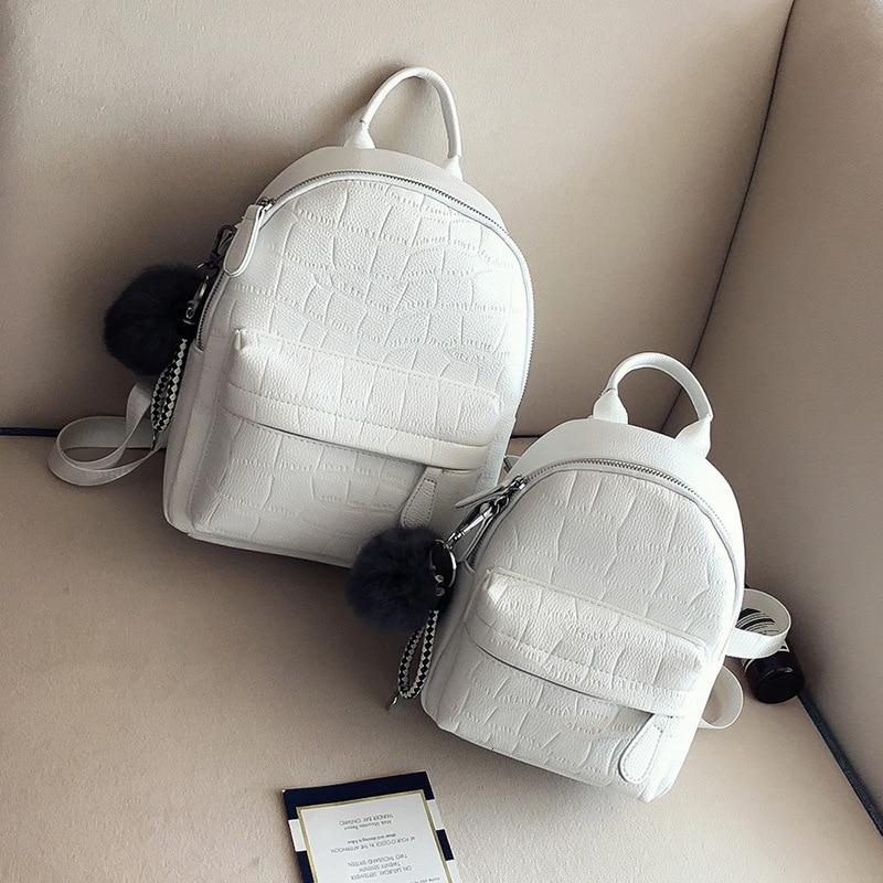 Mini Backpacks Women PU Leather Cute Small Backpack Female White Back Pack Black Backpacks For Teen Girls Fashion Bagpack Woman