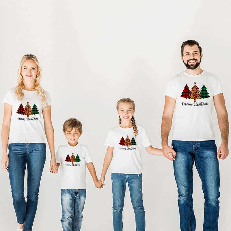 1 PC ลายสก๊อต Leopard คริสต์มาสต้นไม้ครอบครัวจับคู่เสื้อผ้าแม่ลูกสาวพ่อลูกชายชุดสาวเด็กชาย Boys Holiday PARTY T เสื้อ
