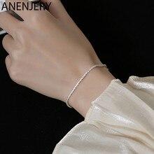 ANENJERY 925 Sterling Silver Fashion prosty łańcuszek bransoletka dla kobiet regulowana bransoletka minimalistyczna biżuteria prezenty S-B446