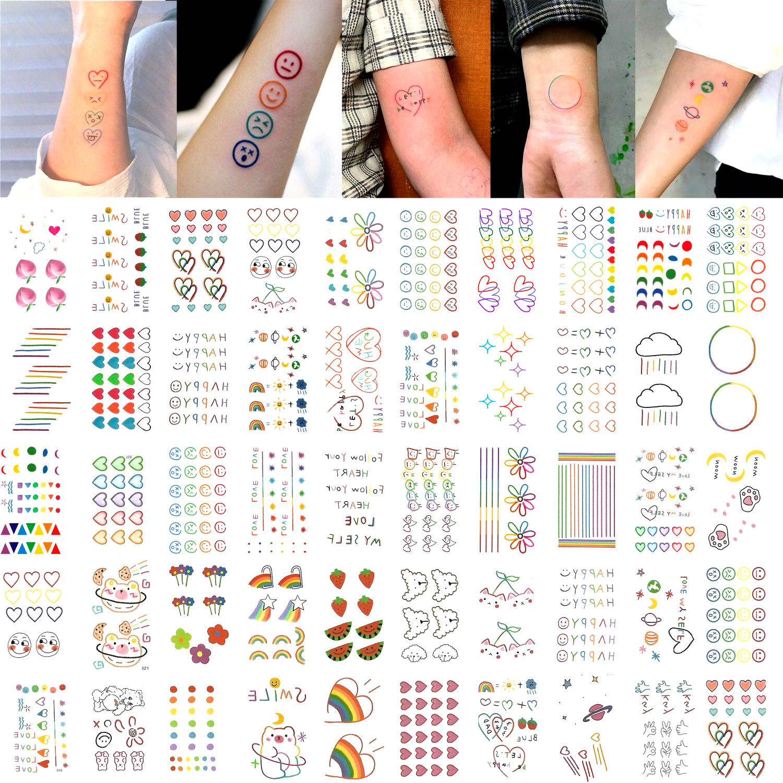 50pcs/set Color Fake Tattoo Heart Words Bear Cute Temporary Tattoo Sticker Kids Girls Women Waterproof Hyuna Tatouage Temporaire