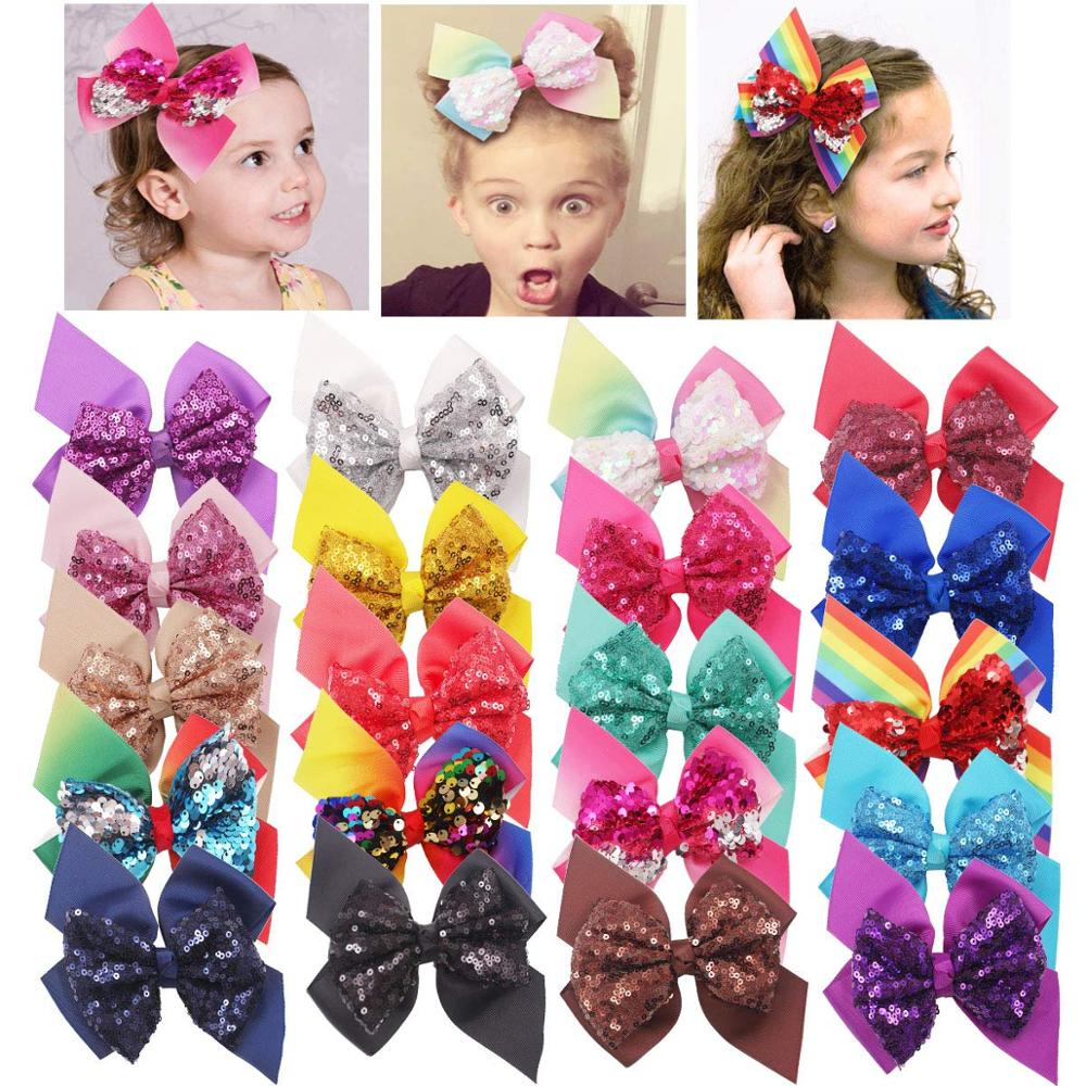 20PCS Boutique Grosgrain Ribbon 6 Inches Hair Bows Alligator Hair Clips For Baby Girls Toddlers And Kids