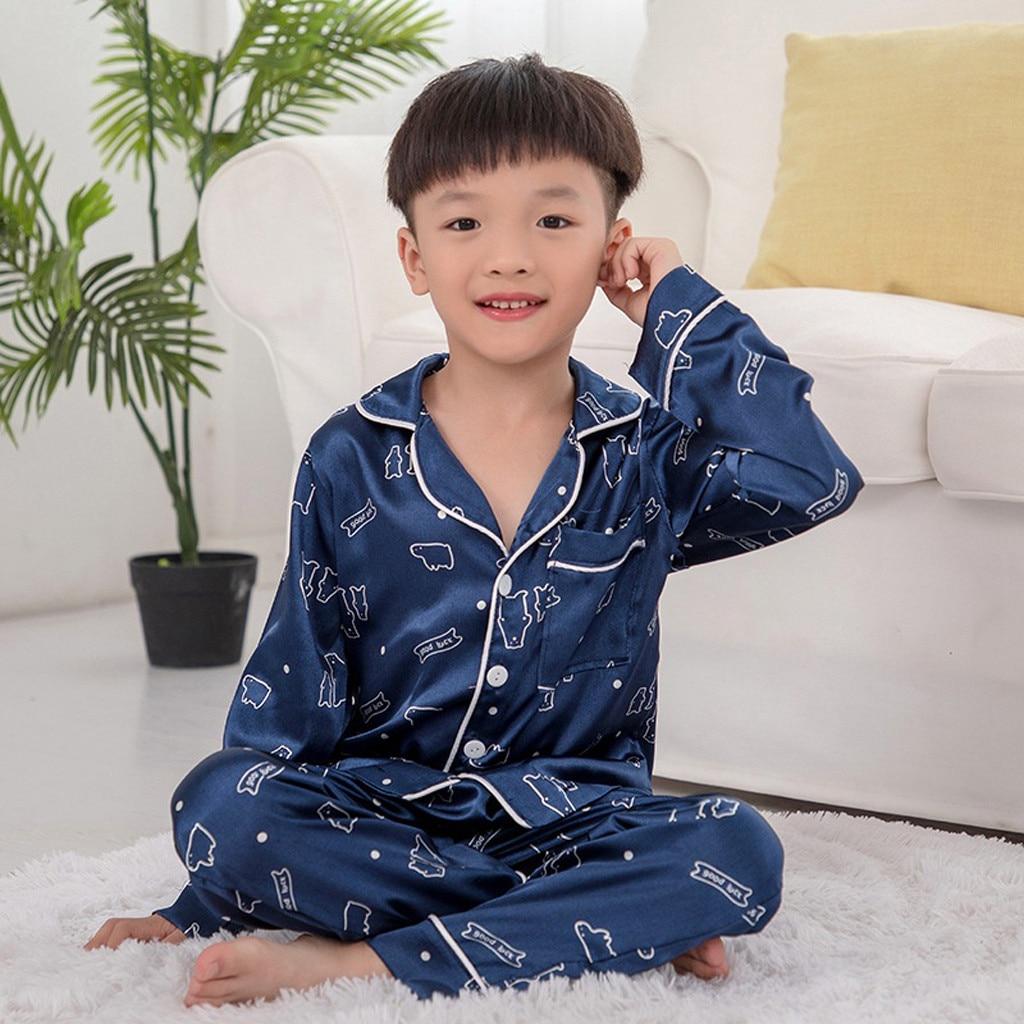 Kids Outfits Pants Print Toddler Baby-Boys-Girls Winter Cartoon Roupa Soft Tops Sleepwear