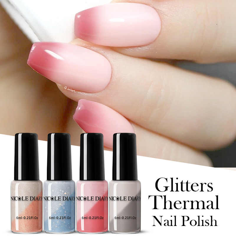 NICOLE Buku Harian 6Ml Termal Gel Cat Kuku Holographics Suhu Warna Mengubah Cat Kuku Dekorasi Nail Art