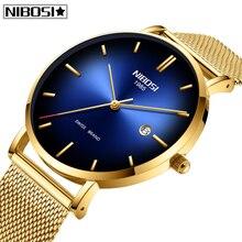 Часы мужские Relogio Masculino NIBOSI для мужчин s часы лучший бренд класса люкс ультра тонкий сетчатый ремень мужские кварцевые часы водонепроницаемые Модные Красочные циферблаты