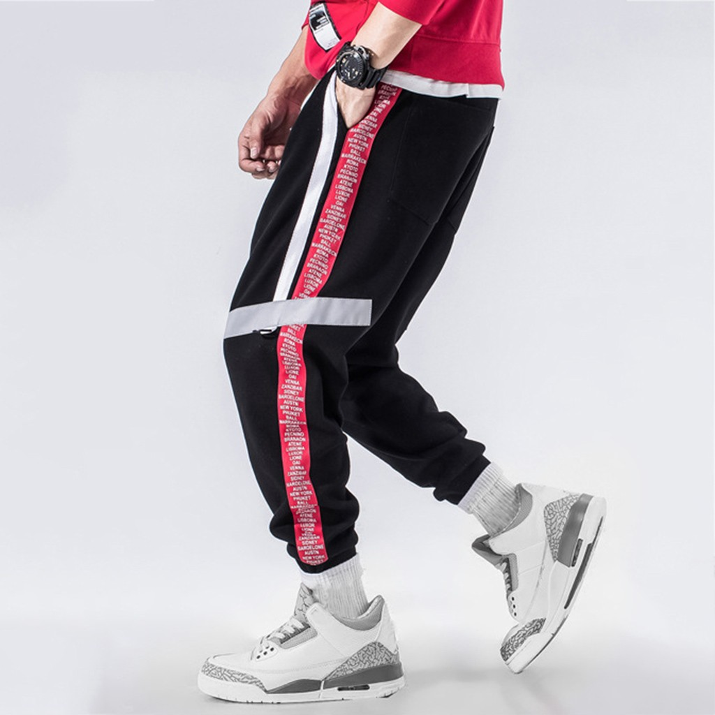 Hip-Hop Pants Korea-Style Long-Trouser Streetwear Stripd Outdoors Sports Straight Bunch